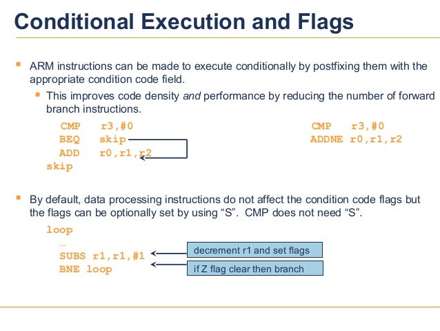 88 ARM instructions can be made to execute conditionally by postfixing them with theappropriate condition code field. Th...