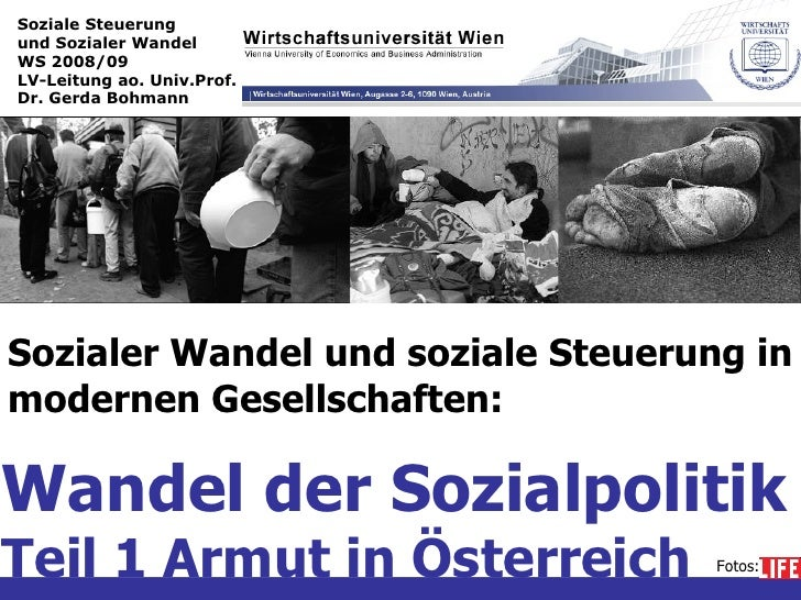 Soziale Steuerung  und Sozialer Wandel WS 2008/09 LV-Leitung ao. Univ.Prof. Dr. Gerda Bohmann Sozialer Wandel und soziale ...