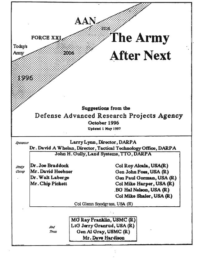 "Army After Next Sugg.,doQl from the Defense Advanced Research Projects Agency October 1996 Up4aled 1 Ma, 1997 ,.""'ft.Vl..'..."