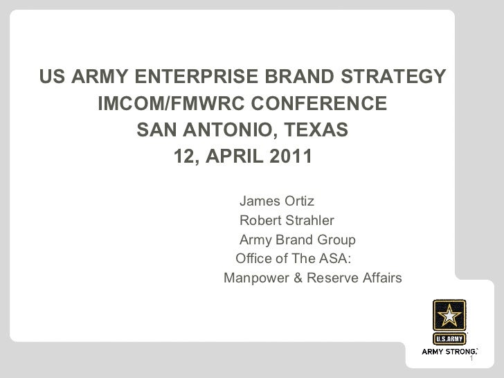 <ul><li>US ARMY ENTERPRISE BRAND STRATEGY  </li></ul><ul><li>IMCOM/FMWRC CONFERENCE  </li></ul><ul><li>SAN ANTONIO, TEXAS ...