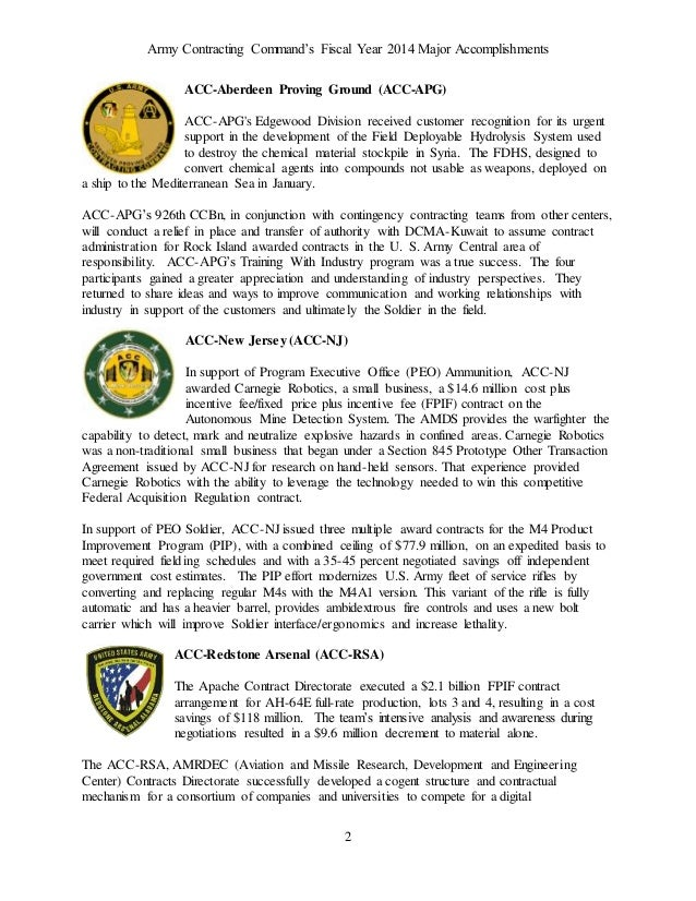 Army Contracting Command's FY14 Major Accomplishments