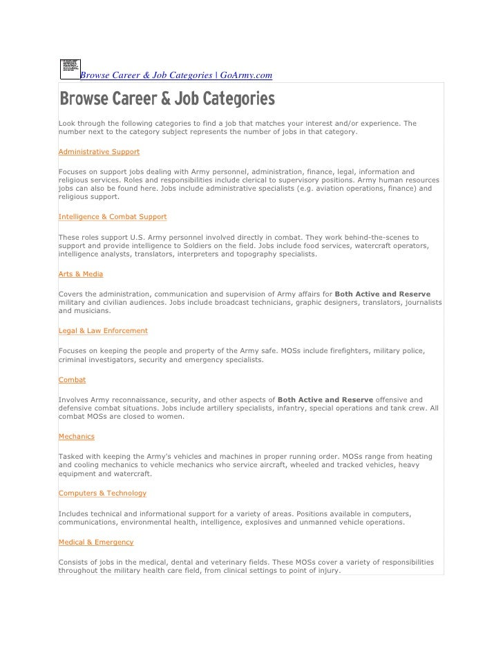 Browse Career & Job Categories | GoArmy.comLook through the following categories to find a job that matches your interest ...