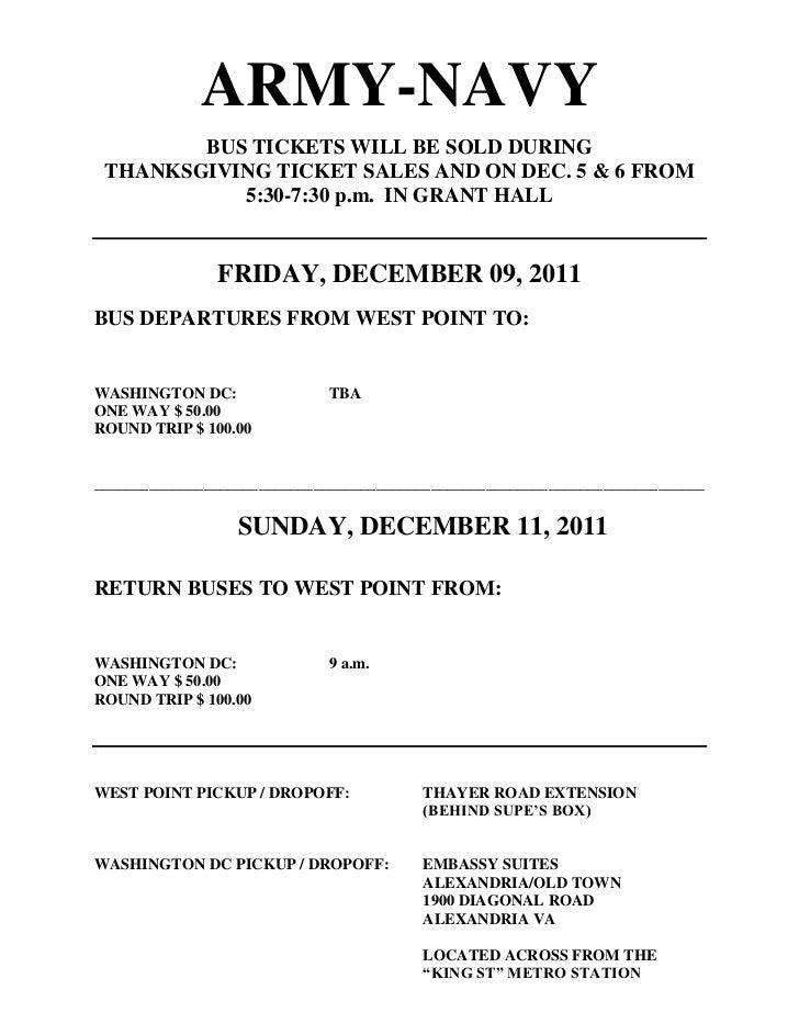 Army Navy 2011 Bus Schedule