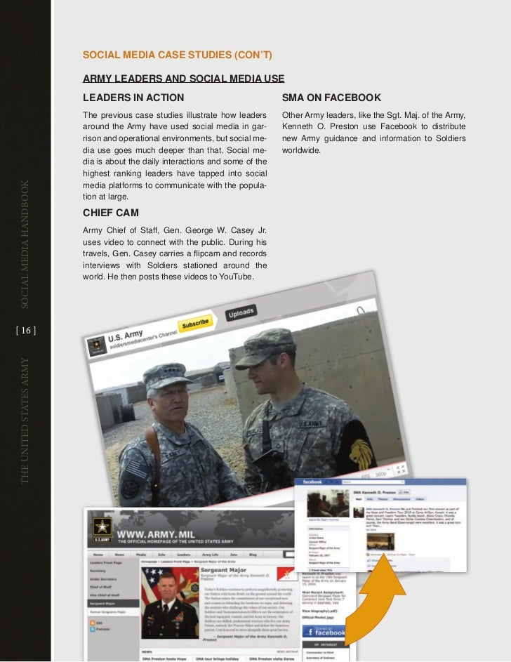 sociAl mEDiA cAsE sTuDiEs (con'T)                         ARmy lEADERs AnD sociAl mEDiA usE                         lEADER...