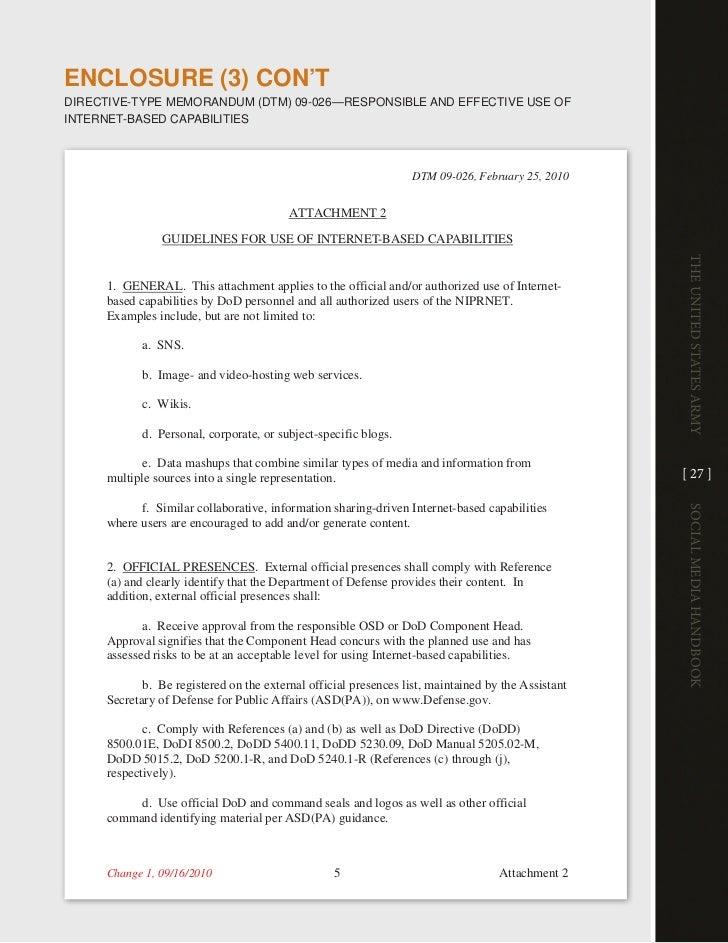 EnclosuRE (3) con'TdiRective-tYPe MeMORandUM (dtM) 09-026—ReSPOnSiBle and eFFective USe OFinteRnet-BaSed caPaBilitieS     ...