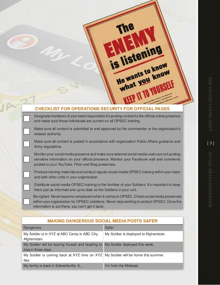 The UniTed STaTeS army       cHEcKlisT foR oPERATions sEcuRiTy foR officiAl PAGEs       Designate members of your team res...