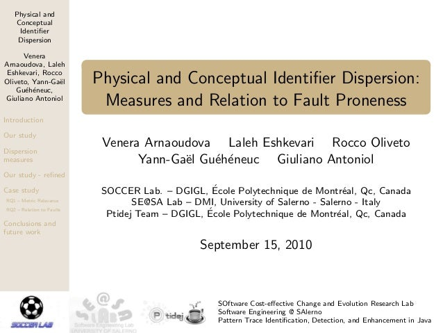 Physical and Conceptual Identifier Dispersion Venera Arnaoudova, Laleh Eshkevari, Rocco Oliveto, Yann-Ga¨el Gu´eh´eneuc, Gi...