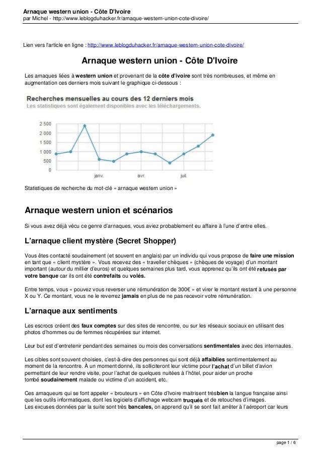 Arnaque western union - Côte D'Ivoire par Michel - http://www.leblogduhacker.fr/arnaque-western-union-cote-divoire/  Lien ...