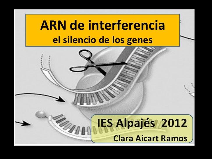ARN de interferencia el silencio de los genes IES Alpajés  2012 Clara Aicart Ramos