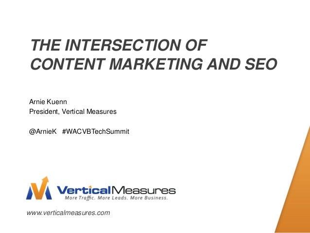 www.verticalmeasures.comTHE INTERSECTION OFCONTENT MARKETING AND SEOArnie KuennPresident, Vertical Measures@ArnieK #WACVBT...