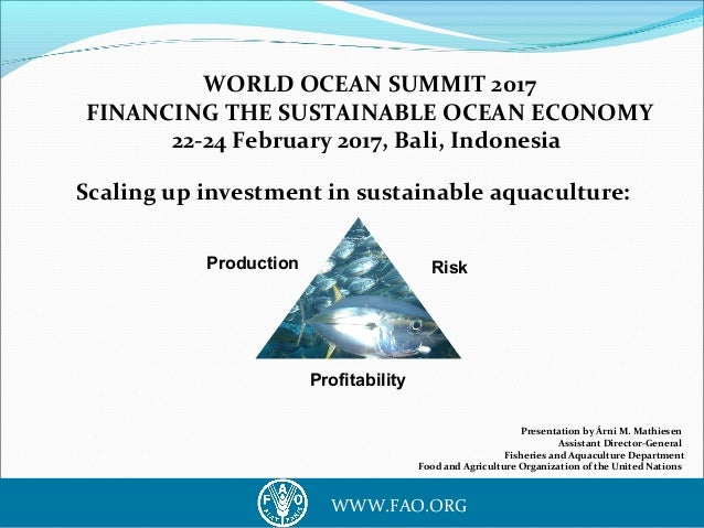 1WWW.FAO.ORG WORLD OCEAN SUMMIT 2017 FINANCING THE SUSTAINABLE OCEAN ECONOMY 22-24 February 2017, Bali, Indonesia Scaling ...
