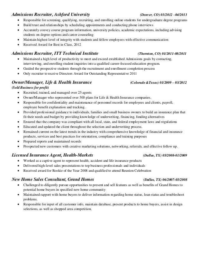 Life Insurance Agent Resume Sample Health Insurance Specialist  RecentResumes Com Health Insurance Agent Resume