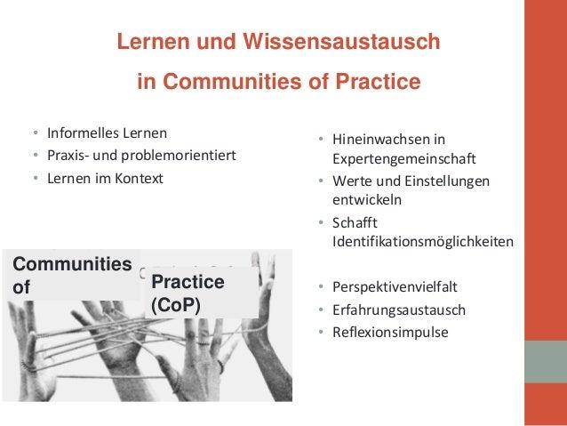 •  Informelles Lernen  •  Praxis- und problemorientiert  •  Lernen im Kontext  •  Hineinwachsen in Expertengemeinschaft  •...