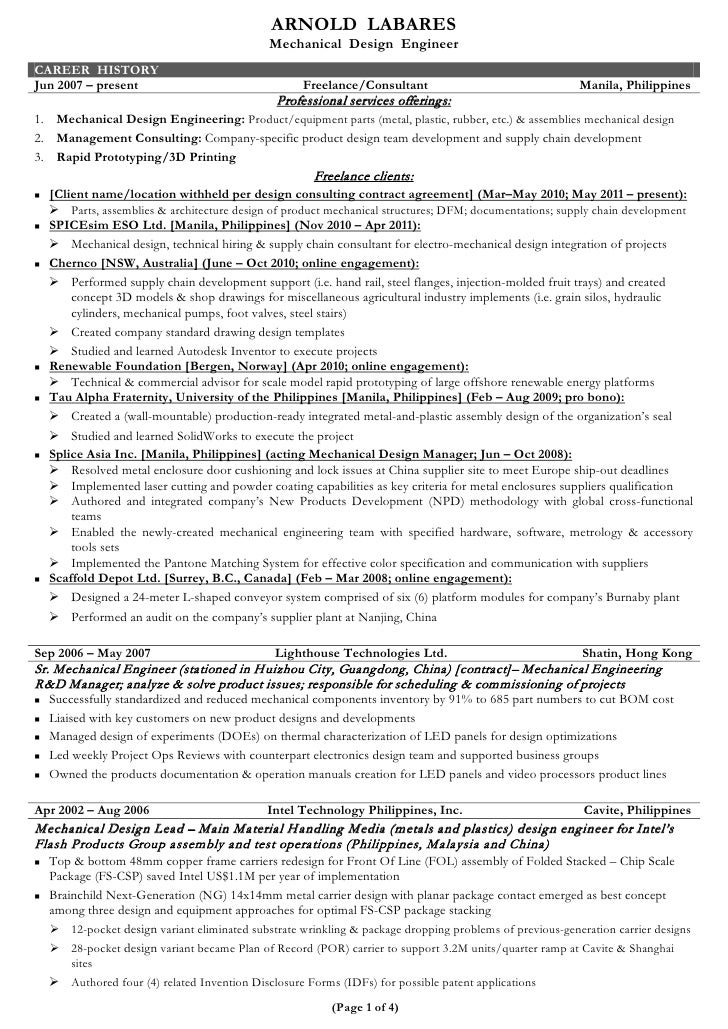 professional mechanical engineer resumes