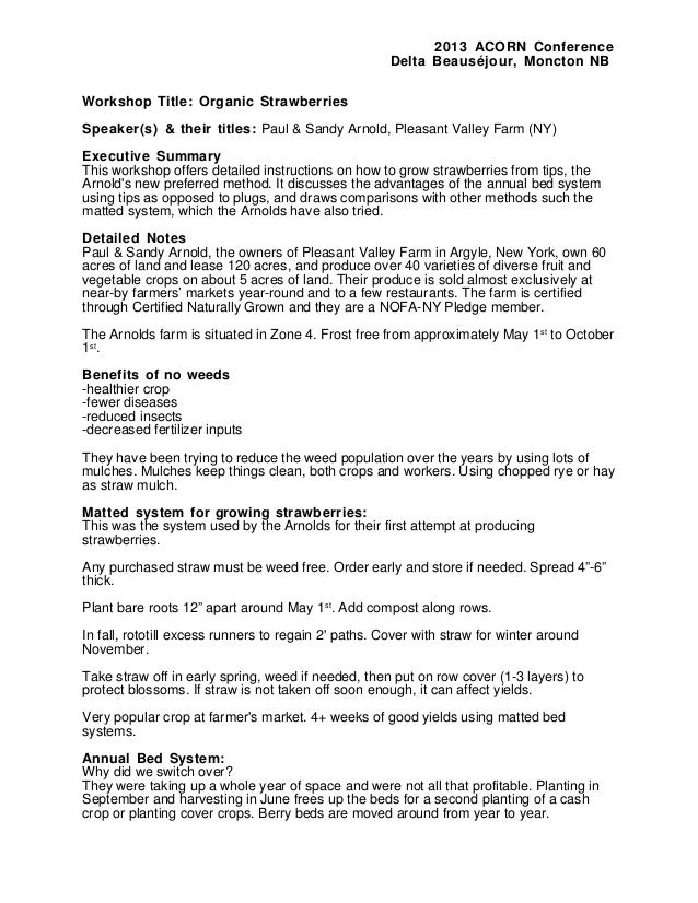 2013 ACORN Conference Delta Beauséjour, Moncton NB Workshop Title: Organic Strawberries Speaker(s) & their titles: Paul & ...