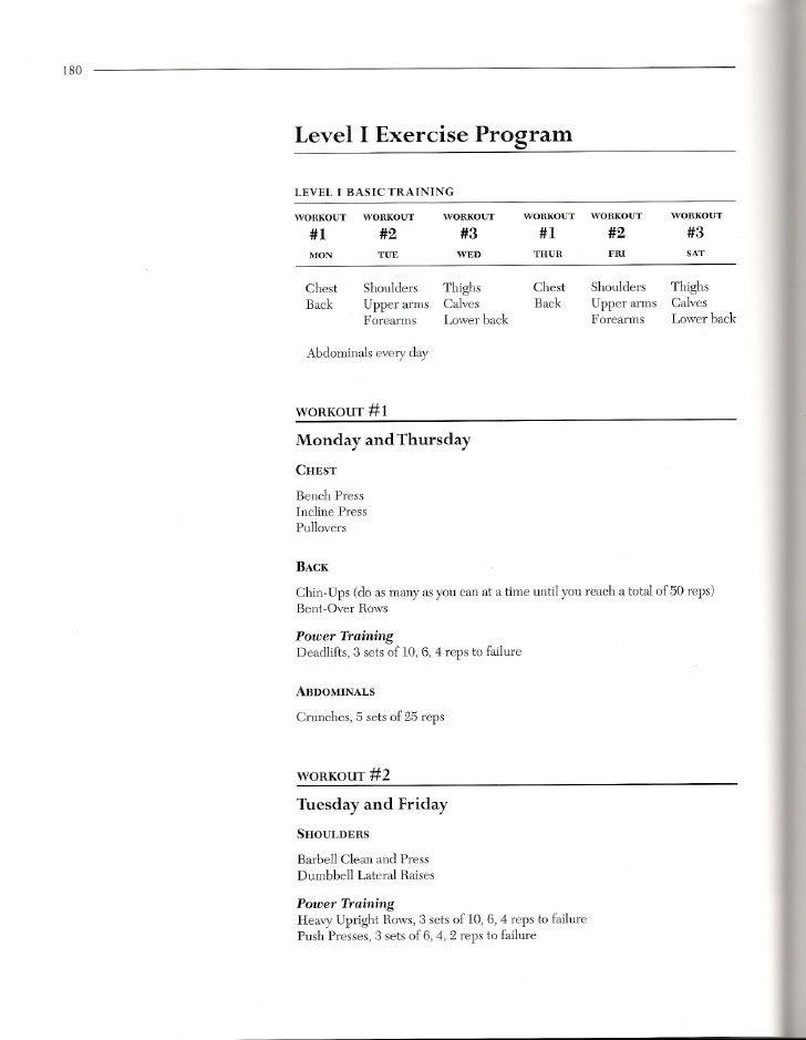 8 180 Level I Exercise Program LEVEL BASIC TRAINING
