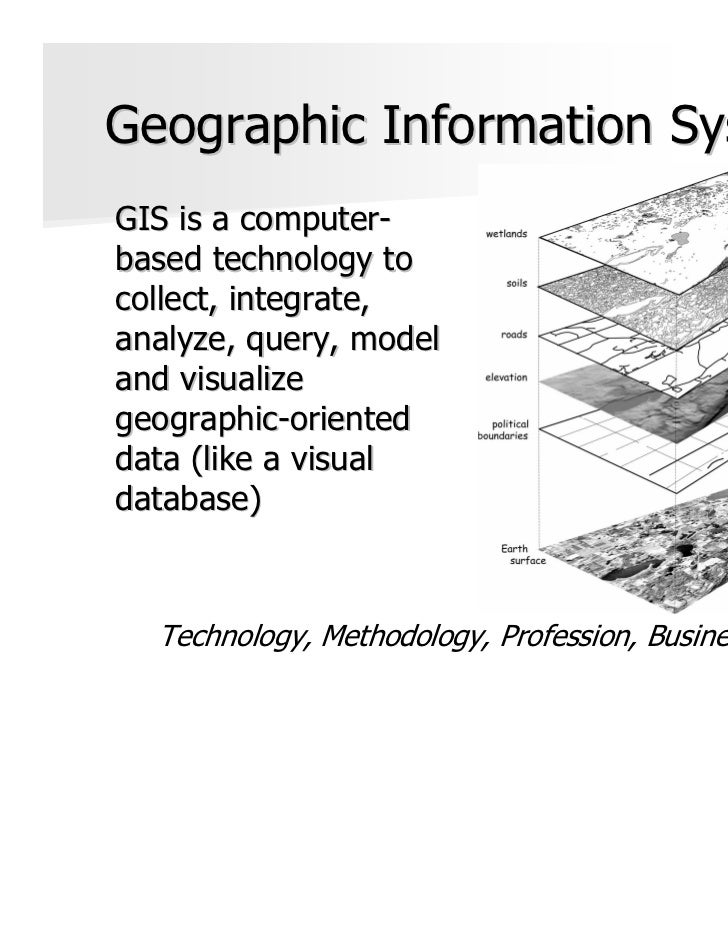 Geographic Information SystemGIS is a computer-based technology tocollect, integrate,analyze, query, modeland visualizegeo...