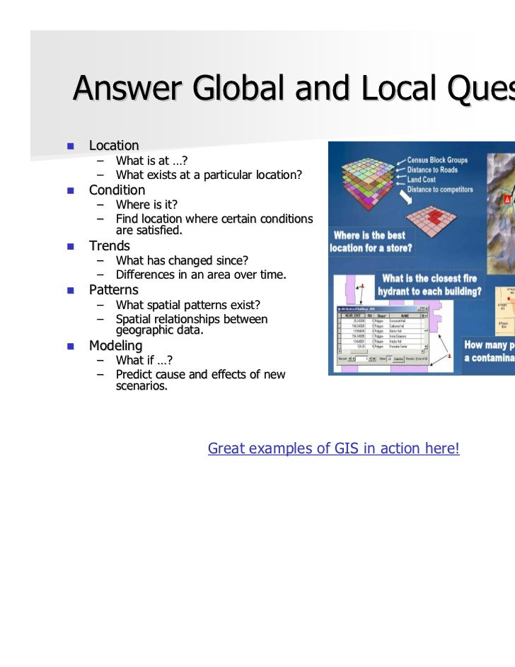 Answer Global and Local Questions Location  –   What is at …?  –   What exists at a particular location? Condition  –   Wh...
