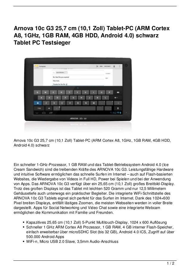 Arnova 10c G3 25,7 cm (10,1 Zoll) Tablet-PC (ARM CortexA8, 1GHz, 1GB RAM, 4GB HDD, Android 4.0) schwarzTablet PC Testsiege...