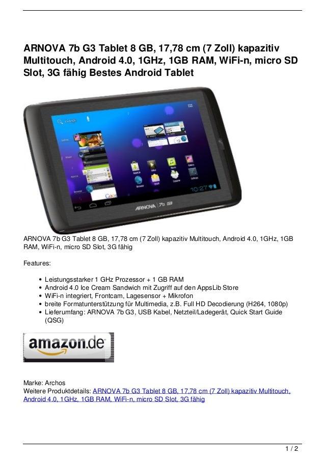 arnova 7b g3 tablet 8 gb 17 78 cm 7 zoll kapazitiv. Black Bedroom Furniture Sets. Home Design Ideas