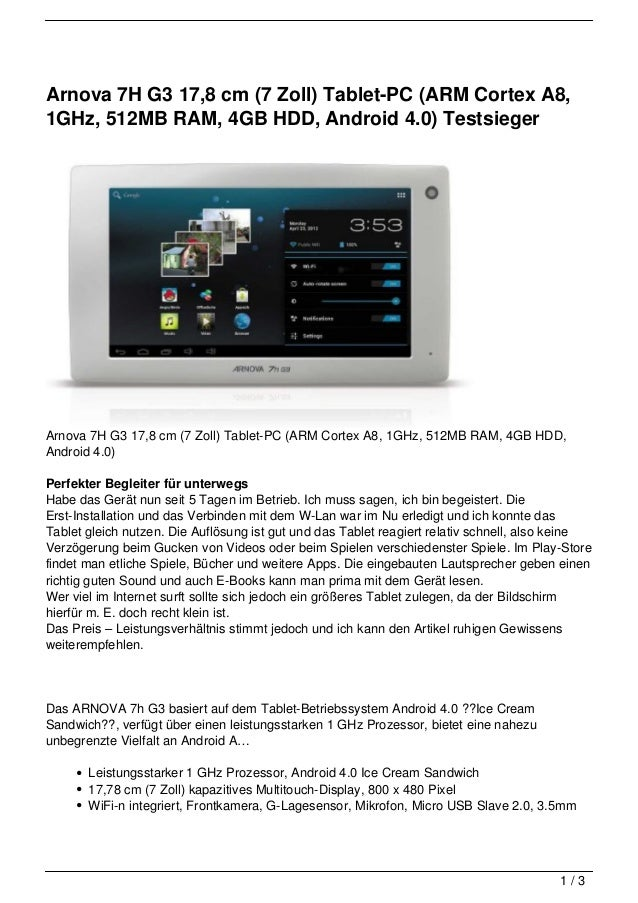 Arnova 7H G3 17,8 cm (7 Zoll) Tablet-PC (ARM Cortex A8,1GHz, 512MB RAM, 4GB HDD, Android 4.0) TestsiegerArnova 7H G3 17,8 ...