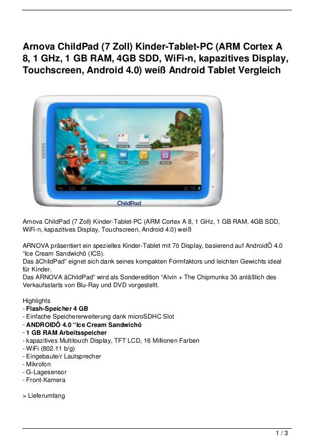 Arnova ChildPad (7 Zoll) Kinder-Tablet-PC (ARM Cortex A8, 1 GHz, 1 GB RAM, 4GB SDD, WiFi-n, kapazitives Display,Touchscree...