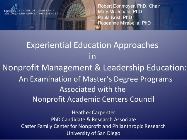 Experiential Education Approaches in Nonprofit Management & Leadership Education: An Examination of Master's Degree Progra...