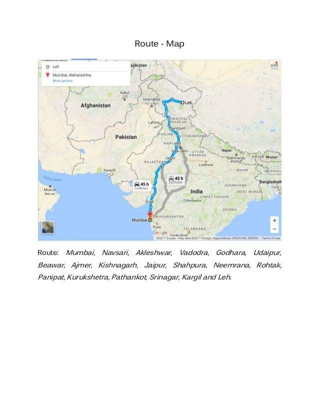 A Road Trip To Ladakh From Mumbai - Beawar map