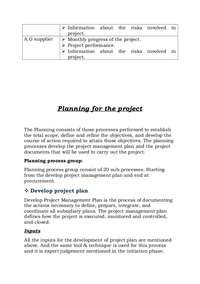 Project management plan house construction