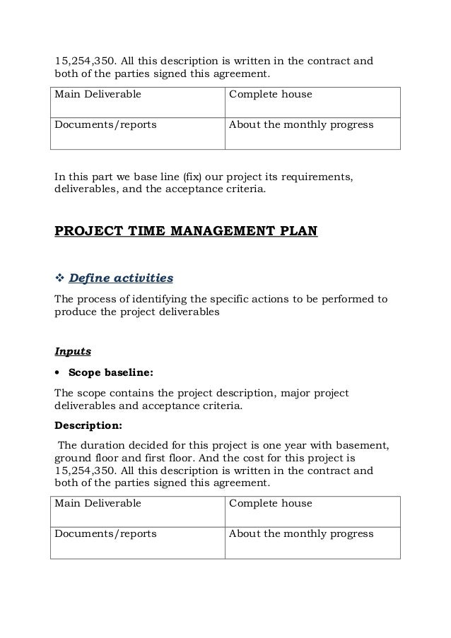 House construction project management plan