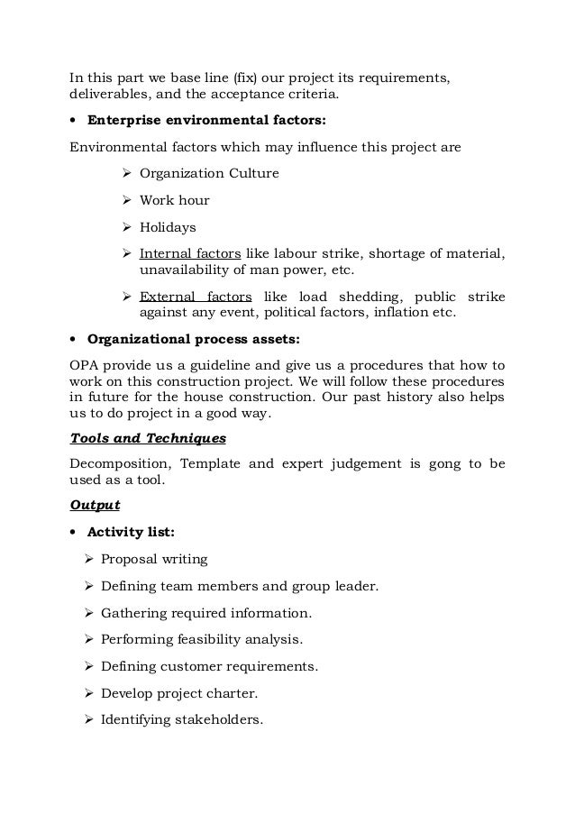 construction project charter sample