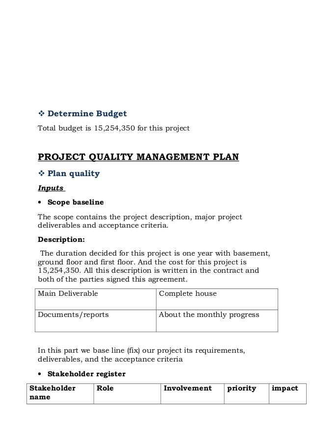 example project charter for the construction of a dwelling house