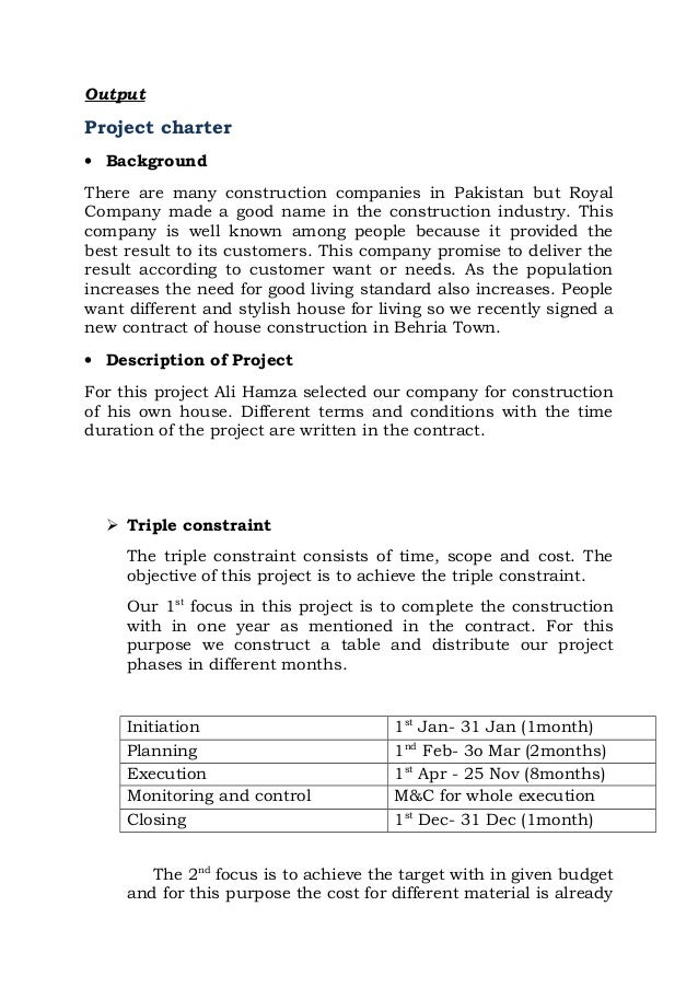 Project charter for building a home