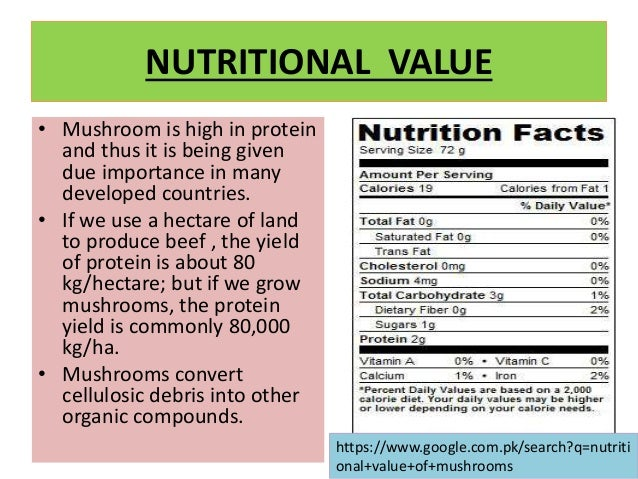 NUTRITIONAL VALUE OF MUSHROOMS PDF