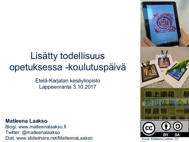 Matleena Laakso Blogi: www.matleenalaakso.fi Twitter: @matleenalaakso Diat: www.slideshare.net/MatleenaLaakso Lisätty tode...