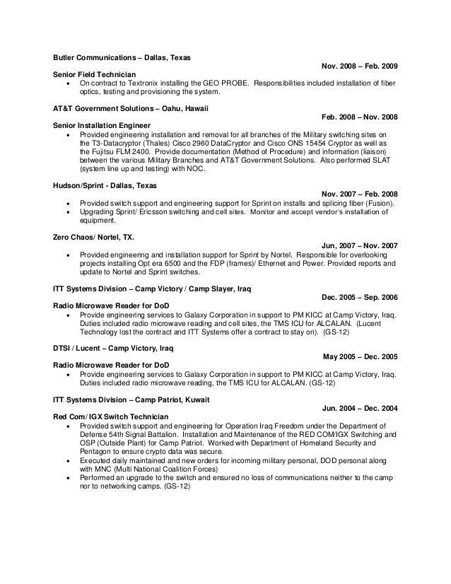 Telecommunication Service Technician Resume