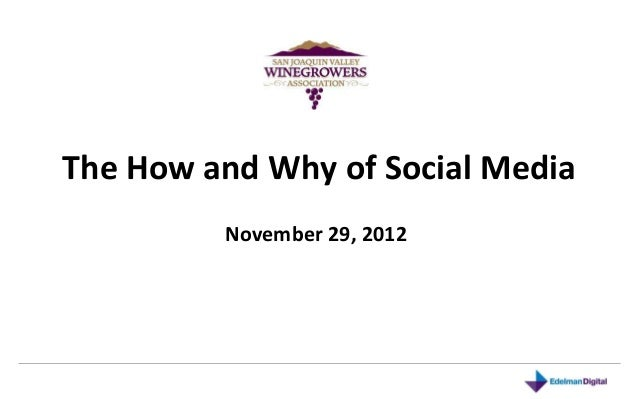 The How and Why of Social Media         November 29, 2012