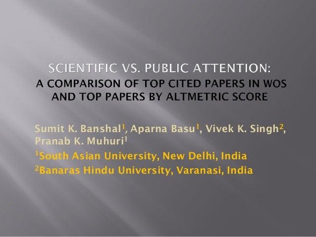 Sumit K. Banshal1, Aparna Basu1, Vivek K. Singh2, Pranab K. Muhuri1 1South Asian University, New Delhi, India 2Banaras Hin...
