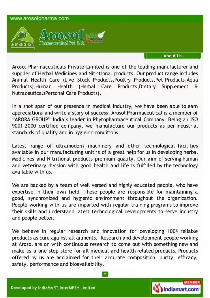 Arosol Pharmaceutical Private Limited, Saharanpur, Herbal