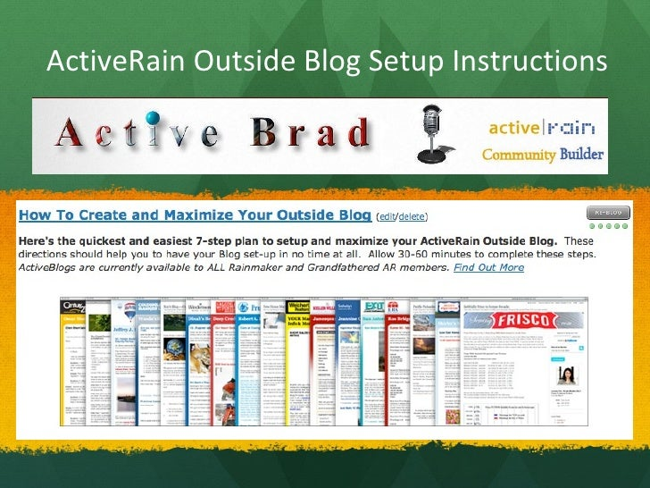 ActiveRain Outside Blog Setup Instructions