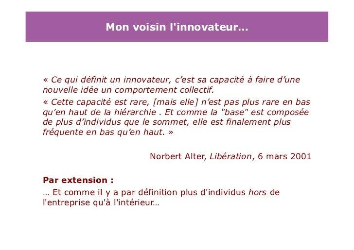 Arp d3p workshop entreprise et innovation daniel for Idee innovation entreprise