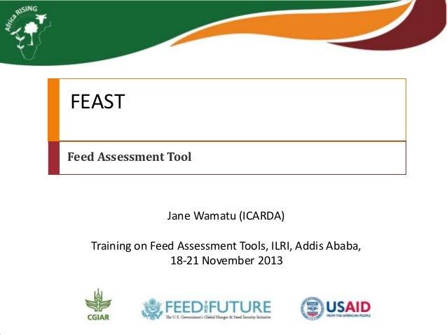 FEAST Feed Assessment Tool  Jane Wamatu (ICARDA) Training on Feed Assessment Tools, ILRI, Addis Ababa, 18-21 November 2013
