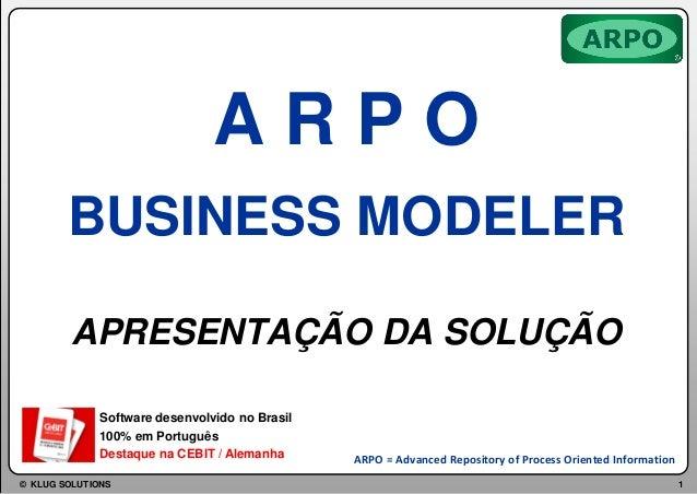 ARPO BUSINESS MODELER APRESENTAÇÃO DA SOLUÇÃO Software desenvolvido no Brasil 100% em Português Destaque na CEBIT / Aleman...