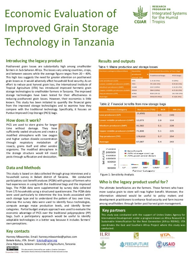 Economic Evaluation of Improved Grain Storage Technology in Tanzania How does it work? PICS are used to store grains for l...