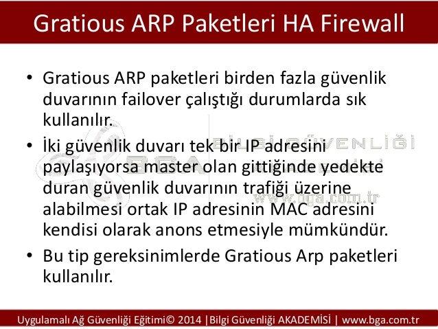 Gratious ARP Paketleri HA Firewall • Gratious ARP paketleri birden fazla güvenlik duvarının failover çalıştığı durumlarda ...