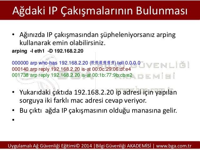 Ağdaki IP Çakışmalarının Bulunması • Ağınızda IP çakışmasından şüpheleniyorsanız arping kullanarak emin olabilirsiniz. arp...