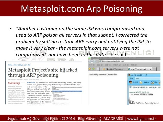 """Metasploit.com Arp Poisoning • """"Another customer on the same ISP was compromised and used to ARP poison all servers in tha..."""