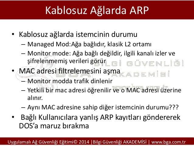 Kablosuz Ağlarda ARP • Kablosuz ağlarda istemcinin durumu – Managed Mod:Ağa bağlıdır, klasik L2 ortamı – Monitor mode: Ağa...