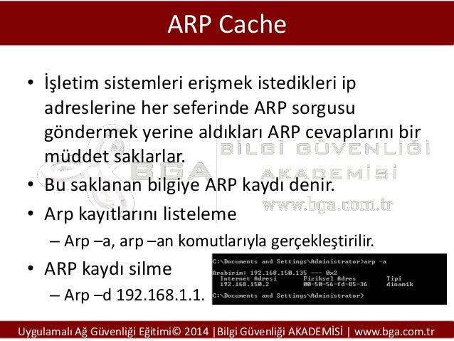 ARP Cache • İşletim sistemleri erişmek istedikleri ip adreslerine her seferinde ARP sorgusu göndermek yerine aldıkları ARP...