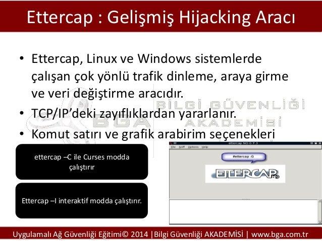 Ettercap : Gelişmiş Hijacking Aracı • Ettercap, Linux ve Windows sistemlerde çalışan çok yönlü trafik dinleme, araya girme...